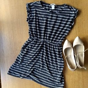 H&M Basic Gray Striped Dress XS